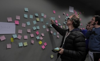 group sticking post its